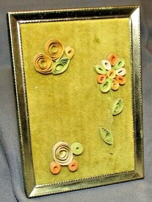 Vintage 3D Quill Paper Art Velvet Brass Picture Frame Handmade Flower Butterfly