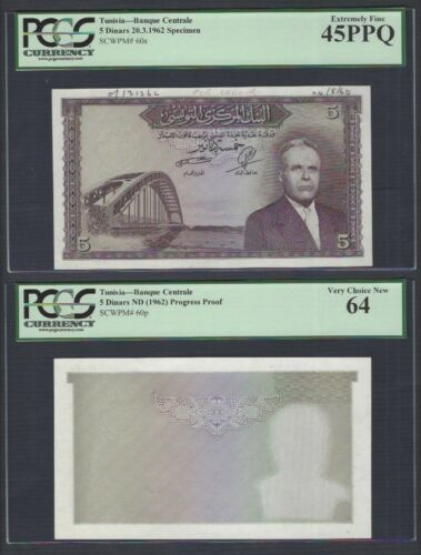 Tunisia 2 Notes 5 Dinars ND(1962) P60p-60s Specimen & Proof XF-UNC