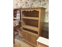 Very solid pine large country kitchen cupboard dresser, huge potential with this one