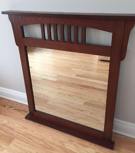 "REDUCED -Wood frame mirror with small ledge- 37"" w x 40"" l"