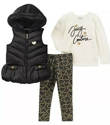 - AUTHENTIC Juicy Couture GIRLS 3PC Black Vest, Top, Gold Heart Legging Set SIZE 6
