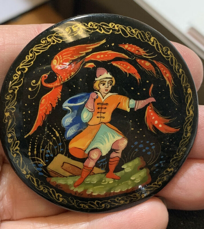 Vintage Russian Lacquer Painted  Brooch Pin Signed Round