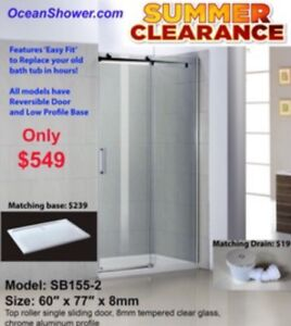 """Blow Out clearance 8"""" Frameless Tempered Glass Shower Doors"""