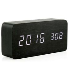 Oct17 Wooden Digital Alarm Clock, Wood Fashion Multi-Function LED Alarm Clock wi