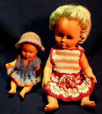 2 Alte Gummi Puppen Baby,  Gummipuppe,60er Jahre?, 29 und 19 cm gross