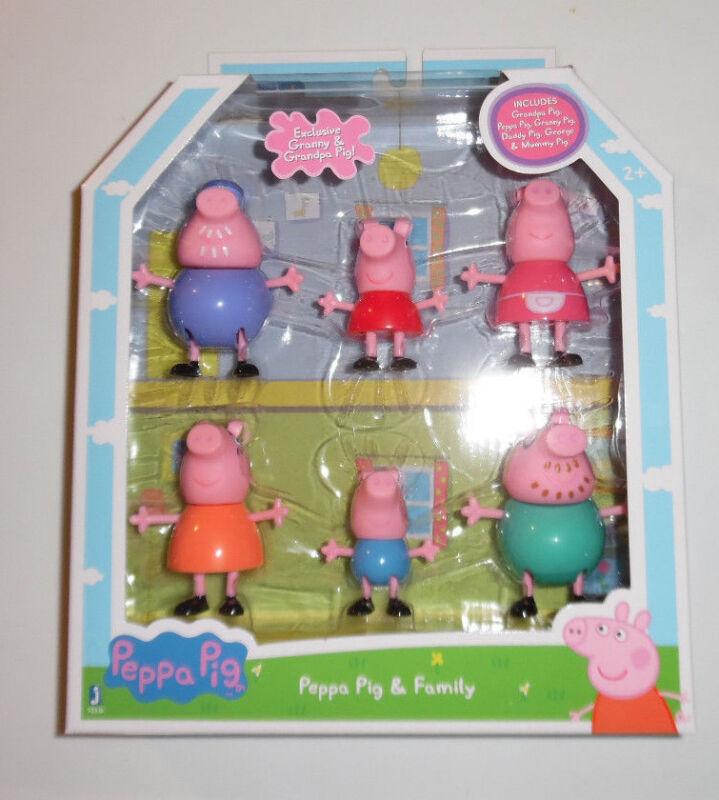 Peppa Pig 6 Toy Figures Granny Grandpa Pig Daddy George Mummy NIP