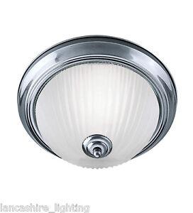Art deco flush bathroom ceiling light with opal glass diffuser ip44 flush 2x40w ebay for Art deco bathroom vanity lights