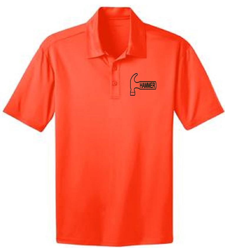 Hammer Men's Big Deal Performance Polo Bowling Shirt Dri Fit Orange