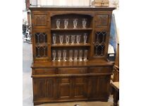 Beautiful Solid Oak Old Charm Welsh Kitchen Dresser With Shelves, Drawers And Cabinets