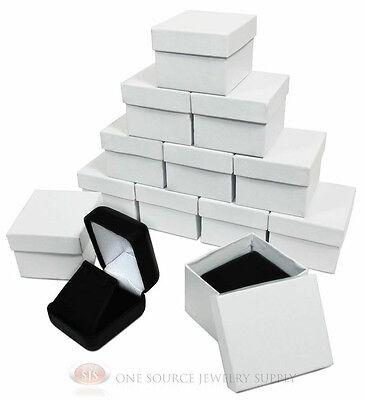 12 Piece Black Leather Earring Jewelry Gift Boxes 1 78w X 2 18d X 1 12h