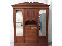 Large Early 20th Century Continental Pine Wardrobe With Drawers And Cabinet