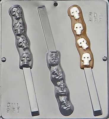 Skulls on Pretzel Rod Chocolate Candy Mold Halloween 961 - Halloween Chocolate Pretzels