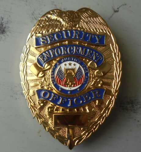 Brass Color Private Security Guard Metal/Pin Back Badge For Display