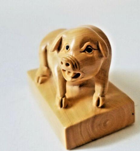 Netsuke Carved Wood Pig Figurine Signed