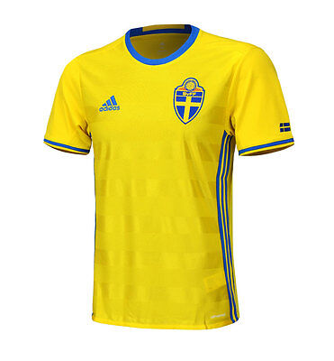 Adidas 16-17 Sweden Home Team Jersey AI4748 S/S Shirts Soccer Football Yellow 16 Soccer Team Polyester