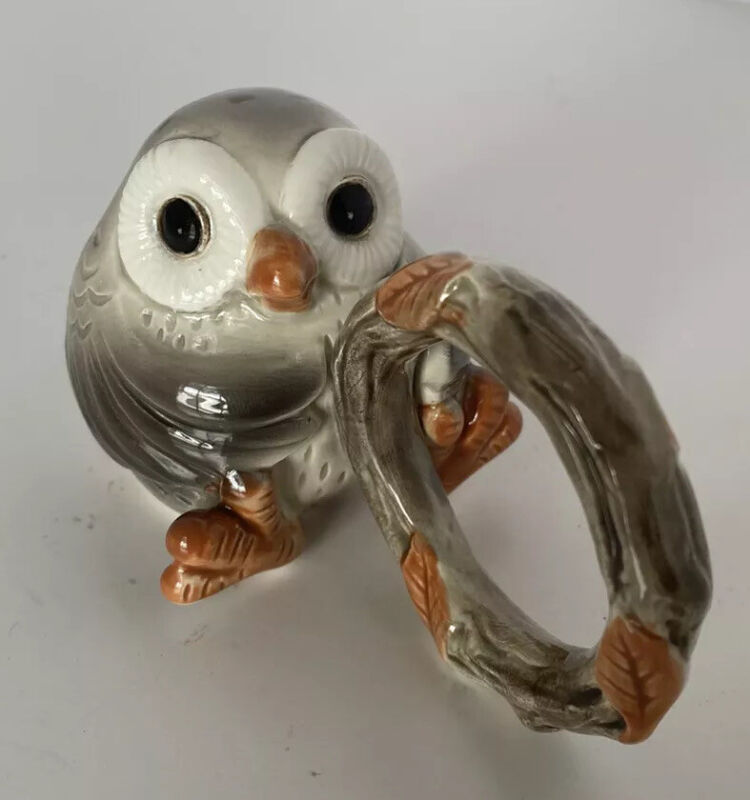 set of 9 vintage Fitz And Floyd Spotted Owl Napkin Rings Japan Hand Painted MINT