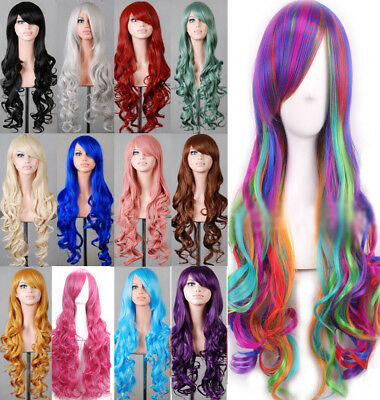 Lady 80cm Long Curly Wigs Fashion Cosplay Costume Hair Anime Full Wavy Party - Long Curly Wigs