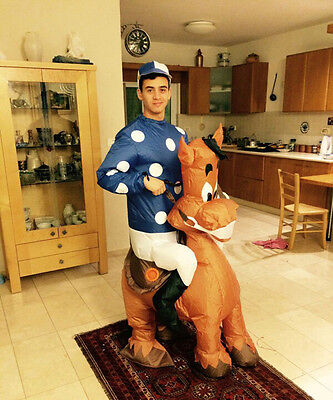 Blow Up Horse Costume (Jockey Fancy Dress Inflatable Costume Adult Blow Up Suit Party Gift Horse)