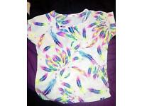 New stunning neon feather top