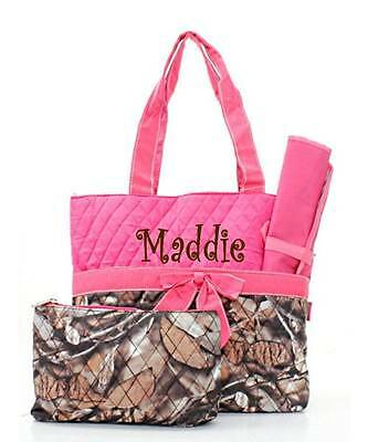 Personalized Natural Camo Diaper Bag Set with Hot Pink Trim FREE Monogram