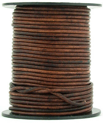 Xsotica® Brown Distressed Round Leather Cord 1mm 10 meters (11 yards)