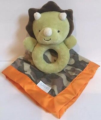 Carter's Dinosaur Camouflage Security Lovey Blanket Dino Rattle Camo