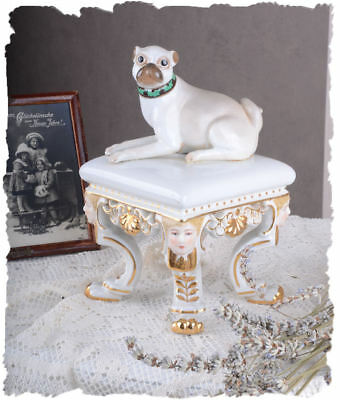 DOGS FIGURE PUG ANTIQUE-STYLE PORCELAIN PRECIOUS COLLECTIBLE