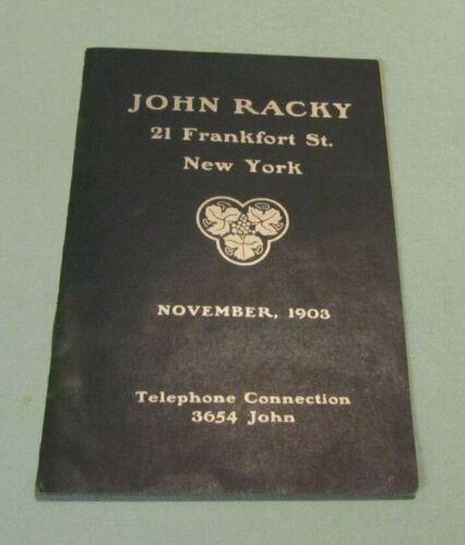 1903 John Racky New York Wine Importer Price List Rhine Moselle Bordeaux Claret