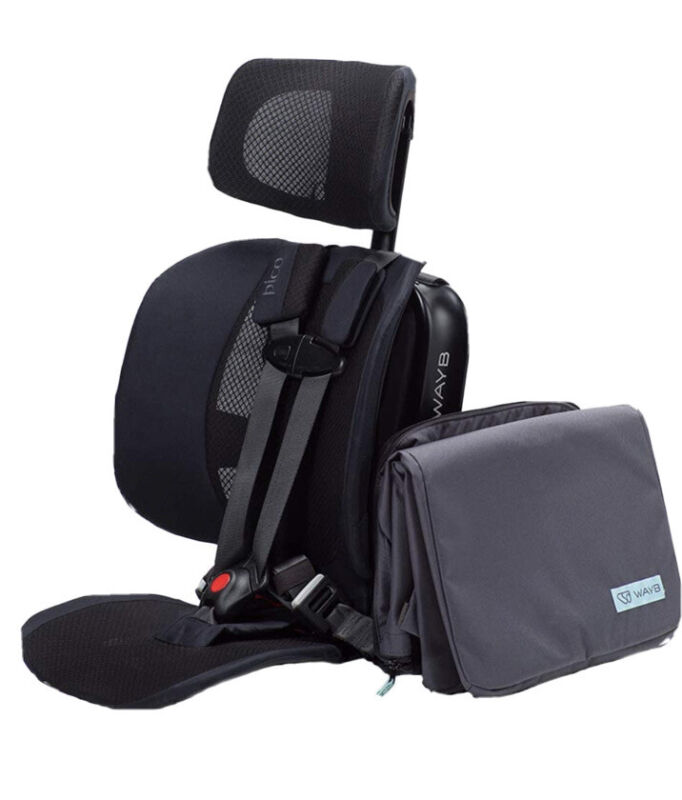 WAYB Pico Travel Booster Car Seat & Bag - Black Portable Foldable Carry Bundle