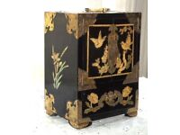 Vintage Chinese Black Lacquer Jewellery Cabinet Box Brass And Abalone Decoration With Four Drawers