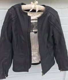Womens padded Leather Motorbike Jacket by Frank Thomas