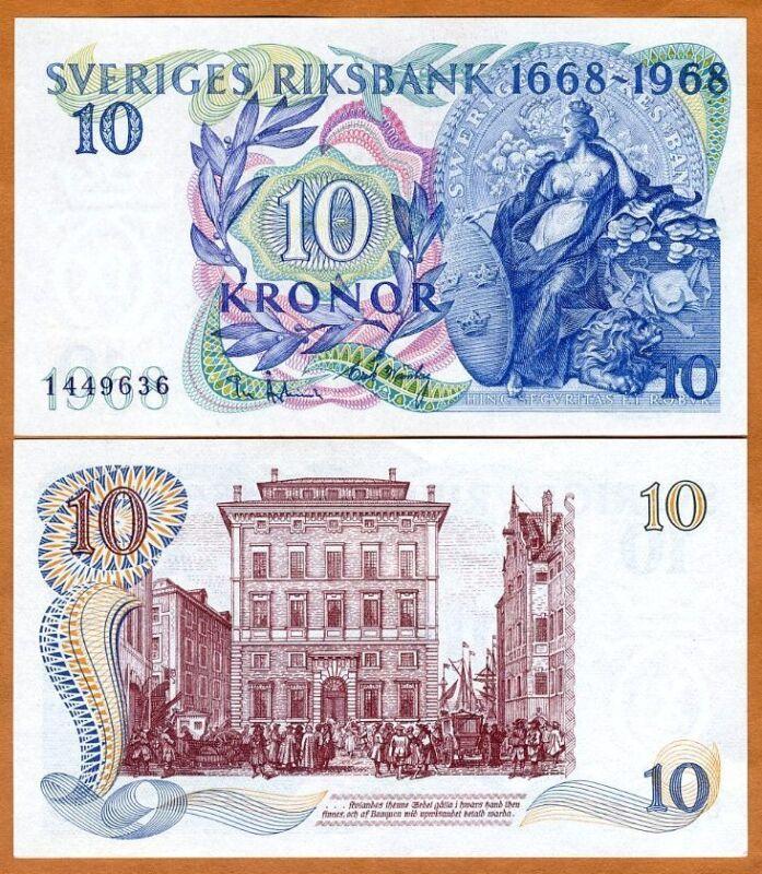 Sweden, 10 Kronor, 1968, Pick 56, UNC, Commemorative