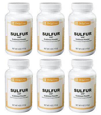 De La Cruz Sulfur Powder Usp Grade Bottled In Usa 4 Oz - 6 Pack Exp. 1020