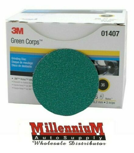"3M- 01407 3"" 36 GRIT GREEN CORP GRINDING DISCS 1407"