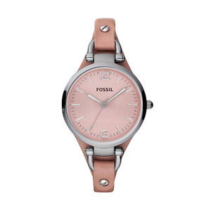 Fossil Georgia Range Stainless Steel Case Leather Cuff Strap Ladies Watch 50m WR