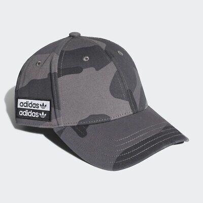 Adidas Originals Camo Baseball Cap 100% Cotton Strap Back Grey Black EH4067