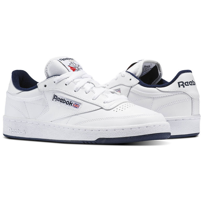 Reebok Classic Club C 85 White Navy Blue Mens Casual Shoes Sneakers Sizes AR0457
