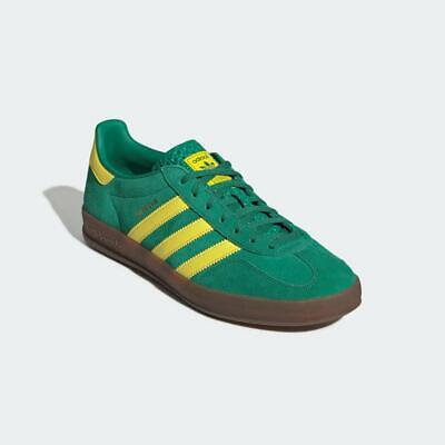 Adidas Originals Gazelle Indoor Shoes Trainers Green Yellow Gum 100% Authentic