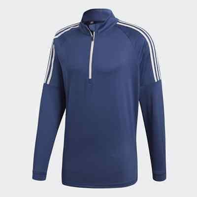 Adidas 1/4 Zip (Adidas Herren 3-Streifen Sweatshirt Blau Golf Sweater Pullover Popover 1/4 Zip)