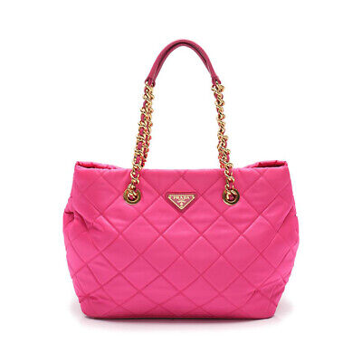 PRADA chain tote bag nylon pink 2WAY
