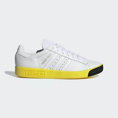 Adidas Originals Mens Forest Hills Shoes White / Yellow / Black Leather Trainers