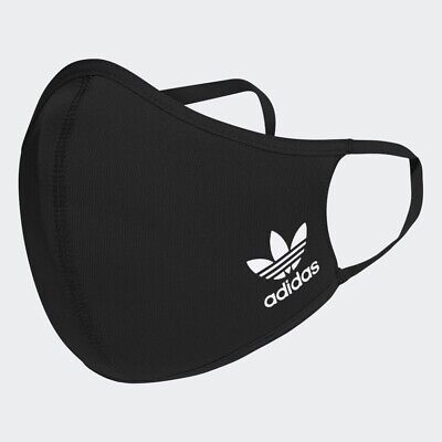 Adidas Face Cover Mund-Nasen-Maske Blütenlogo Gr. M/L Schwarz Waschbar 60°C