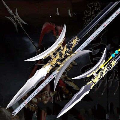 """76"""" Single Double halberd Day the picture Halberd Stainless Steel Spearhead#0090"""