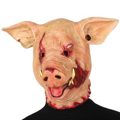 Adult Scary Killer Evil Horror Pig Mask Fancy Dress Halloween Saw Movie ()