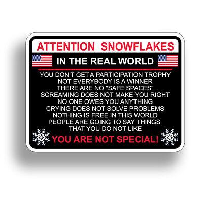 Attention Snowflake Car Truck Bumper Sticker Political Window Decal Trump - Snowflake Window Decals