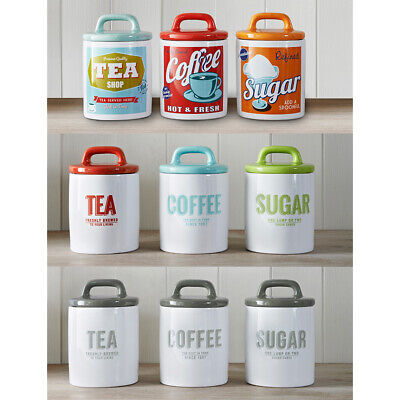 Vintage Retro Style Text Ceramic Tea Coffee Sugar Canisters Storage Jar Set 3