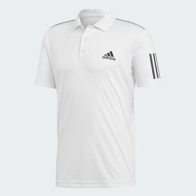 Adidas Originals Men's 3-Stipe Club White Short Sleeve Polo Shirt All Sizes