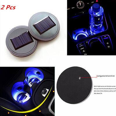 2x Solar Energy Cup Drink Bottle Holder Bottom Pad LED Light Cover Trim All Car