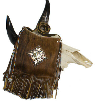 Brown Leather Magnet Concho (Raviani Cross-body Fringe Bag brown Brindle Leather W/ SQ  Crystal Concho)