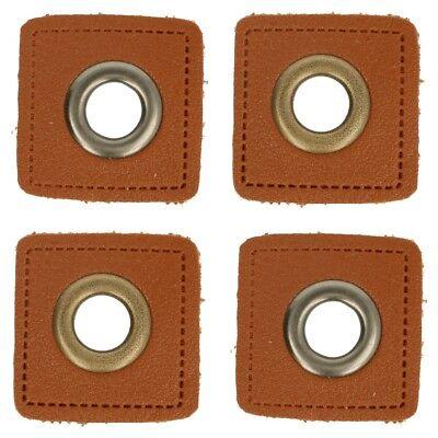 Braun Kunstleder Metall (1 Paar (2 Stk.) Ösen auf Kunstleder braun - ca. 27x27 mm - Metallösen - 2 Farben)